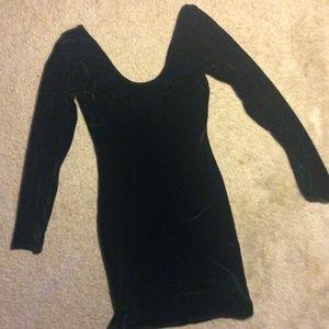 Black Velvet Fitted Dress American Apparel